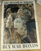 Original Norman Rockwell 1943 Wwii Save Freedom Of Worship Buy War Bonds Poster