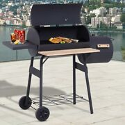 Charcoal Bbq Cast Iron Grill Free Standing Outdoor Heavy Duty Steel W/ Fire Box