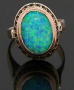 Antique 14k Yellow Gold Elegant 13 X 9mm Opal And Ruby Cocktail Ring Size 7.75