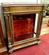 Antique French Gold Gilt Marble Top Vitrine Glass Door And Sides Display Shelves