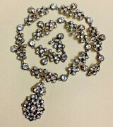 Antique Victorian Diamond Paste Sterling Silver Foiled Back Necklace 57.6grams