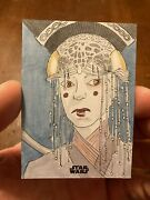Queen Padme Amidala Star Wars Sketch 1/1 By Eric White From 2018 Topps Finest