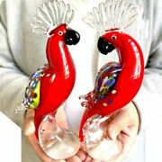 Hand Blown Glass Parrot Figurine Hand Made Crystal Animal Sculpture Ornaments