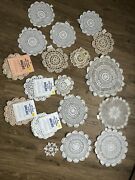 21 New Unused With Tags Crochet Crocheted Doilies White And Tan Several Sizes