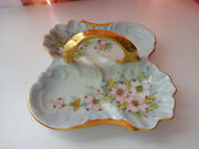 Vtg Antique Hand Painted Nippon Divided Dish W Gold Handle Cherry Blossom Paint