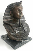 Unique Heavy Egyptian King Tut Bust Copper Wash Made In European Finery Figure