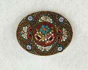 Antique Victorian Silver Micro Mosaic Glass Tile Floral Flower Brooch Pin