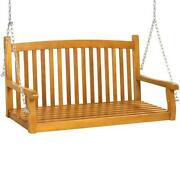 Wooden Curved Back Hanging Porch Swing Bench W/ Mounting Chains - 48in