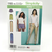 Simplicity 1165 Plus Size Slim Pull On Pants Or Shorts Misses Sz 14 22 Pattern