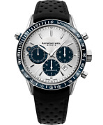 Raymond Weil Freelancer Menand039s Chronograph Steel Leather Automatic Watch