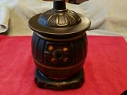 1960and039s Mccoy Pottery Usa Matte Black Wood Burning Cook Stove Cookie Jar And Lid Vg