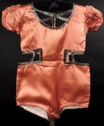 Antique 1920's 1930's Girl's Satin Costume W Gold Lame Edging And Cutout Sides