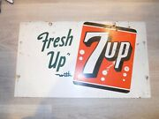 7 Up Antique Tin Beverage Sign 11x19 Heavy Fresh Up With 7-up