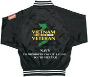 Vietnam Uss Monmouth County Lst-1032 1-sided Satin Jacket Back Only Embroidered