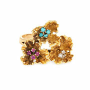 Paper Flowers Gemstone Ring Vintage 18k Yellow Gold Ruby Turquoise Jewelry Sz 6