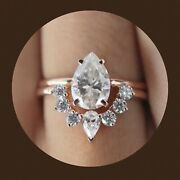 Sale 2 Ring Set 10mm Pear Moissanite Engagement Ring Natural Diamond Crown Band