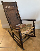 Late 1800and039s Antique Original Finish Wood Rocking Chair - Belongs In A Museum