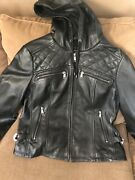 Ladies First Classics Leather Riding Jacket With Hood And Quilted Pattern Nwt - Xl