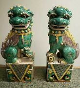 Antique Chinese Famile Verte Foo Dogs 15
