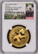 Ngc Pf70 2012 China 30th Issuance Of Gold Panda 1oz Gold Coin With Coa