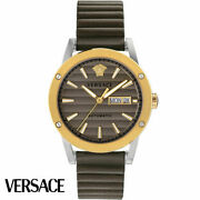 Versace Vedx00219 Theros Automatic Silver Gold Brown Leather Menand039s Watch New