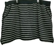 Nwt Woman Plus Denim And Co Pull On Skort Size 3x Black And White Striped And Pockets