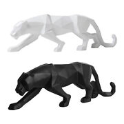 Modern Abstract Panther Sculpture Geometric Leopard Statue Ornament