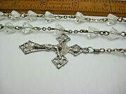 Vintage Sterling Silver Coned Shape Crystal Rosary Necklace 33 + 7 Drop