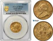 Ag310 South Africa Zar 1 Pond 1898 Pretoria Gold Pcgs Ms62
