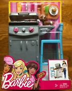 Nib Barbie Barbecue And Dog Pet Set With Gas Grill And Stool Playset Dvx48