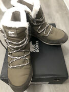Snow Boots -sorel Womenand039s Whitney Flurry Size 8 Waterproof Green /khaki /olive