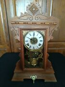Rare 1800's Antique William L Gilbert Lake No.2 W/ Key Mantle Clock Works Great