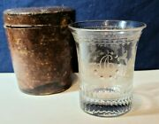 Antique 19th.c. Engraved Blown Glass Presentation Goblet In Orig.leather Case...