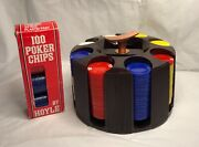 Vintage Poker Chip Carousel Caddy Marbleized Plastic W/400 Chips And Hoyle Box