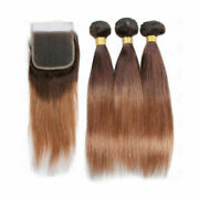 12a Brazilian Human Hair Weft 3bundle+lace Top Closure 4/30 Root 0mbre Straight