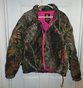 M Womens Browning Jacket Puffer Coat Real Tree Camo Goose Down Zip Pink Lined