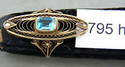 Unique Antique 10k Gold, Pearl And Aquamarine Ring, Victorian Style, Size 4