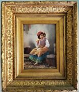 Antique Oil Painting Girl With Kitten Cat Framed Fine Detail Uninvited Guest