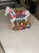 Ceramic Antique Carousel Horse Candle Holder Toys Bear With Box
