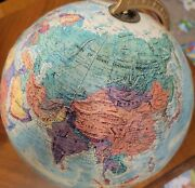 """Vintage 1970's Crams Imperial 12"""" World Globe On Metal Rotating Stand- Raised"""