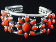 Vtg Old Pawn Sterling Silver Red Coral Cluster Bracelet Womens Cuff S6.25 C1950s