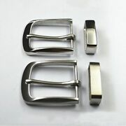 Pin Belt Buckle With Loop 40mm Men Solid Stainless Steel Belts Clip Accessories
