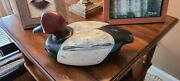 Vintage Wood Carved Mallard Duck Signed By Pete 1.