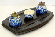 Stunning Antique Art Nouveau Blue And White Stoneware Pottery Ink Well Desk Set