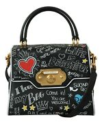 Dolce And Gabbana Bag Welcome Purse Black Leather Dg Heart Crossbody Rrp 4300