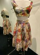Nwt Dolceandgabbana 2020 Floral Print Cropped Top And Skirt Set It40 Us4
