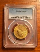 1911 10 Gold Indian Head Eagle Pcgs Ms63