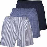 Lacoste 3-pack Check Stripe And Solid Woven Menand039s Boxer Shorts Blue/navy