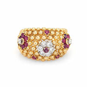 Ruby Diamond Ring Domed Flower 18k Gold Band Vintage Jewelry Estate Sz 7.25