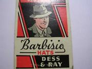 1940's Dess And Ray Finer Haberdashery Barbisio Hats Chicago Il Matchcover
